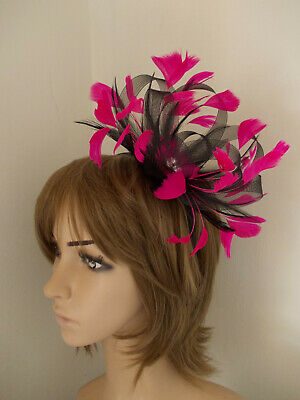 Black & Cerise Hot Pink Looped Fascinator Feathers Diamante Headband  • 9.99£