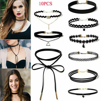 Leather Lace Choker Charm Necklace Vintage Chockers Punk Retro Black Collar UK • 1.39£