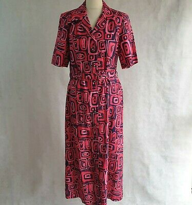 AU12.62 • Buy C & D Vintage Dress Women's UK 12 Shirt Long Belt Red Pink Cotton Pattern 482579