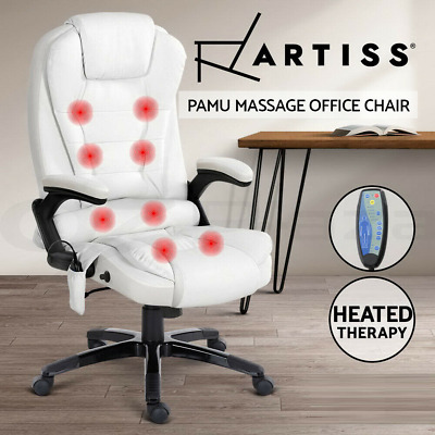 AU245.95 • Buy Artiss 8 Point Massage Office Chair Computer Desk Chairs Heated Recliner White