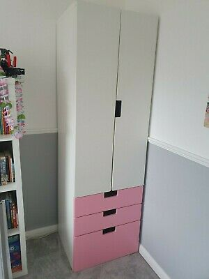 IKEA Stuva Children's Wardrobe & Drawers In Pink & White • 5.50£