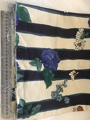 Two Small Remnants MULBERRY Blue Floral Stripe Furnishing Fabric  • 1.50£