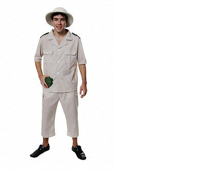 Mens African Safari Zoo Keeper Fancy Dress Costume Outfit Party Stag Steve Irwin • 7.99£