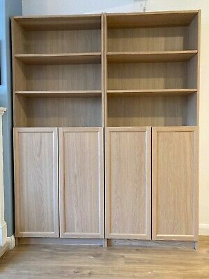 2 IKEA Billy Bookcases With Doors, White Stained Oak Effect. Smoke-free Home. • 40£