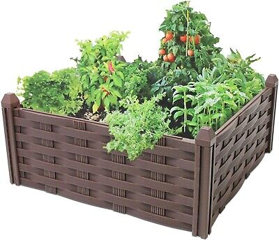 Raised Rattan Flower Bed Garden Bed Raised Vegetable Patch Large Planter • 12.99£