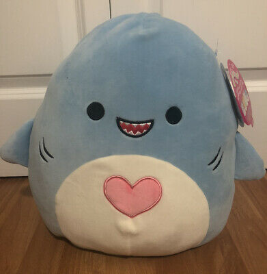 """$ CDN120 • Buy Squishmallow 12"""" Rey Blue Valentine Shark Heart Belly RARE Canadian Exclusive"""