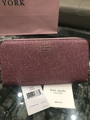$ CDN129 • Buy NEW Kate Spade Lola Glitter Large Continental Wallet Zip Around Rose Pink