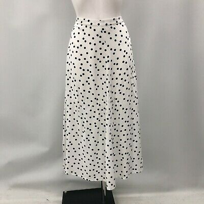 New Baukjen Skirt Size UK 10 White Black Polka Dot Crepe Midi Zipped 483557 • 14.50£