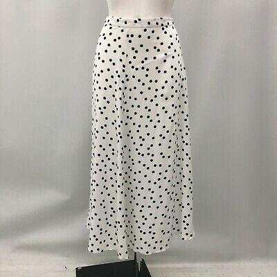 New Baukjen Annabelle Skirt Womens UK 12 White Black Polka Dot Crepe Long 481512 • 15.55£