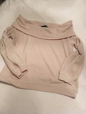 Abercombie & Fitch Beige Off The Shoulder Jumper Large • 9.99£