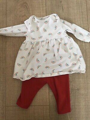 Next Baby Girl Up To 1 Month Dress And Legging, Red, Rainbows, Long Sleeve. • 3£