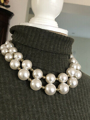 M&S Choker Necklace BIG CREAMY Faux PearlS & GOLD TONE BEADED CHUNKY • 9.99£