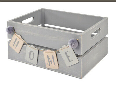 Wooden Slatted Crate Gift Display Storage Box Grey Wood HOME Bunting Pom Pom • 22.50£