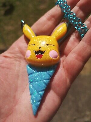 Resin Necklace Pokemon Pikachu Yellow Blue Ice Cream Cone  • 11£