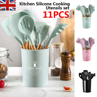 £15.99 • Buy 11pcs Silicone Kitchen Utensils Cookware Set Nonstick Baking Cooking Spoon Tools