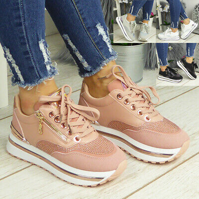 £18.90 • Buy Ladies Platform Bling Trainers Womens Lace Up Comfy Wedge Sneakers Pumps Shoes