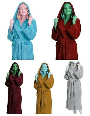 £11.45 • Buy Unisex 100% Egyptian Cotton Hooded Bathrobe Soft Terry Toweling Dressing Gown