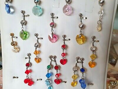 £22.50 • Buy Joblot Of 20 Mixed Color Made With Swarovski Crystal Surgical Steal  Belly Bars