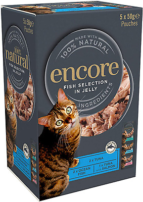 Encore 100% Natural Wet Cat Food, Multipack Fish Selection In Jelly, 4x 5x50g Po • 15.99£