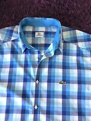 Stunning 100% Genuine Lacoste Sport S/S Blue & White Check Shirt In Size 44, XL • 9.95£