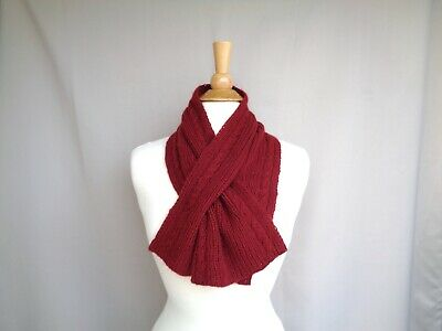 $55 • Buy Burgundy Red Keyhole Scarf Cables Men Women Hand Knit Soft Cashmere Neck Warmer
