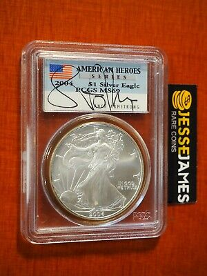 2004 American Silver Eagle Pcgs Ms69 Lance Armstrong Signed American Heroes Ed. • 49.93£