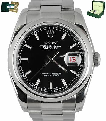 $ CDN8440.96 • Buy 2019 ROLEX SERVICE DateJust 36 116200 Black Stainless 36mm Oyster Smooth Bezel