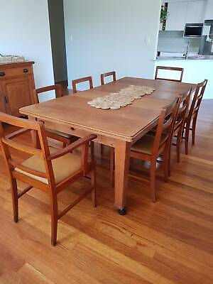 AU90 • Buy Vintage Timber Dining Chair Set (2 Carvers, 6 Dining Chairs)