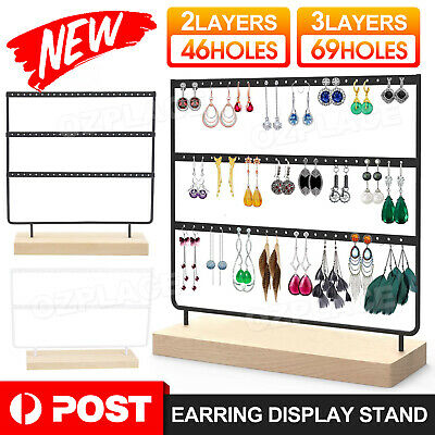 AU15.95 • Buy Up To 3Layer Wooden Earring Display Stand Holder Jewelry Necklace Rack Organizer