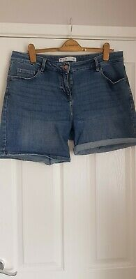 Ladies Next Boy Shorts Mid Blue Denim Size 16 • 7.50£