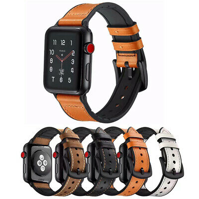 AU23.96 • Buy Silicone Genuine Leather Watch Band For Apple IWatch SE 6 5 4 3 2 38/40/42/44mm
