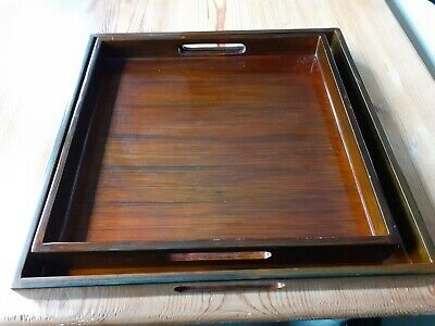 Pair Of Beautiful Vintage Solid Wood Lacquered Trays  • 18£