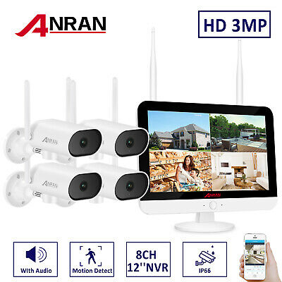 ANRAN 3MP Outdoor Wireless Security WIFI Camera System 12''LCD Monitor CCTV NVR • 159.99£