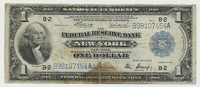 USA United States Of America NEW YORK 1 Dollar Federal Reserve Bank  1914   • 45.35£