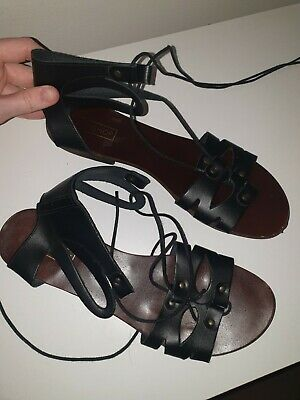 Topshop Black Leather Gladiator Sandals Size 7 • 0.99£