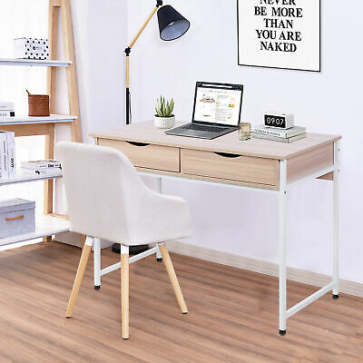 Modern Computer Desk PC Dressing Table With 2 Drawer Cabinet Laptop Home Office • 73.21£