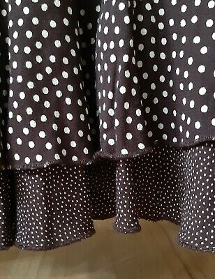 MARKS & SPENCER M&S Brown White Polka Dot Skirt Frill Ruffle Size 16 Long • 5£