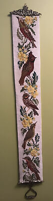 VTG Needlepoint 5 Birds Yellow Floral Wall Hanging Bell Pull W/ Brass Ends 45  • 27.96£