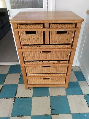 Wicker 5 Drawers Units Wooden Storage Cabinet Basket Natural • 3.53£