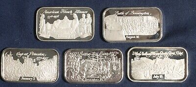 Five (5) American Revolution 1 Oz Silver Ingots Bars 999 Silver  Lot 270343 • 132.32£