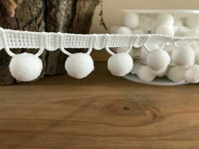 White - POM POM TRIM - Cushion Upholstery Fringing - £2.35 Per Metre • 2.35£
