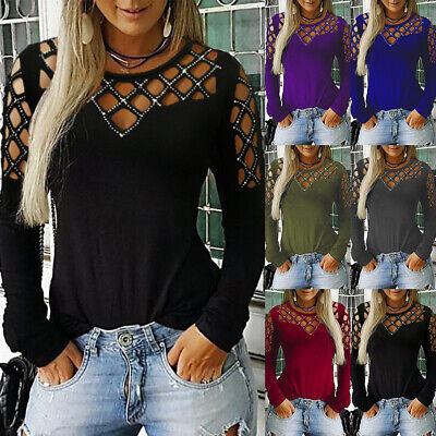 £5.96 • Buy Women Long Sleeve T Shirt Tops Cut Out Cold Shoulder Plus Size 6-24 Sexy Clothes