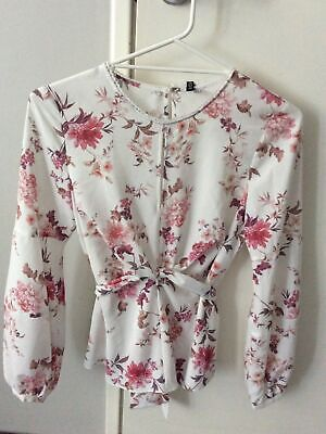 AU17 • Buy Forever New White Floral Long Sleeve Top Blouse Size 8