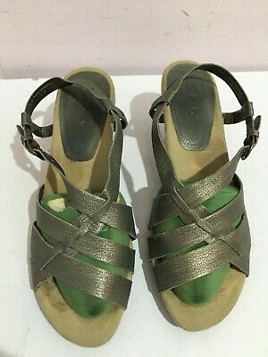 Clarks Genuine Leather Size 6 Womens Ladies Grey Sandals Shoes Heels Summer  • 0.99£