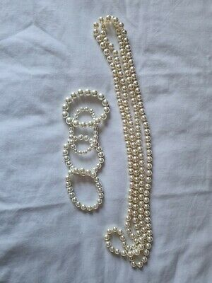 Fake Pearl Necklace And Matching Bracelets • 6£