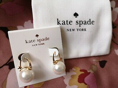 $ CDN33.53 • Buy Brand New Kate Spade Pearl Hanging Leverback Earrings With Kate Spade Pouch Bag