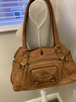 Womens River Island Tan Leather Shoulder Bag Good Condition • 15£