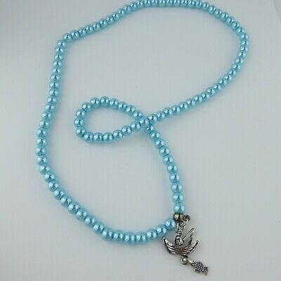 Blue Faux Pearl Bead Elasticated Necklace Fisherman Charm Pendant Handmade Gift • 3.95£