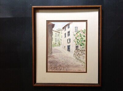 Landscape Watercolour Painting - Continental Street Scene - Signed - Modern • 40£