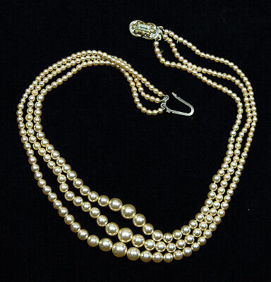 Imitation Pearl Three Tier Necklace, With White Gemstone On Closure • 2.99£